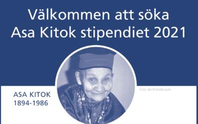 Ansökan till Asa Kitok stipendiet 2021 är öppen!